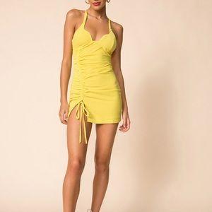 NEW Superdown 'Irina' Yellow Ruched Mini Dress